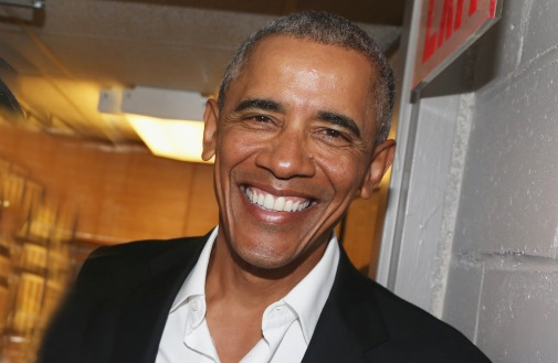 "NEW YORK, NY - FEBRUARY 24: (EXCLUSIVE COVERAGE) The 44th President of The United States Barak Obama, poses backstage at The Roundabout Theatre Company's production of ""Arthur Miller's The Price"" on Broadway at The American Airlines Theatre on February 24, 2017 in New York City. (Photo by Bruce Glikas/FilmMagic)"